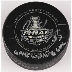 """Patrice Bergeron Signed 2011 Stanley Cup Finals Logo Hockey Puck Inscribed """"Game Winning Goal"""" (Berg"""