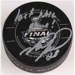 "Mark Recchi Signed 2011 Stanley Cup Finals Logo Hockey Puck Inscribed ""Last NHL Game!"" (JSA COA)"