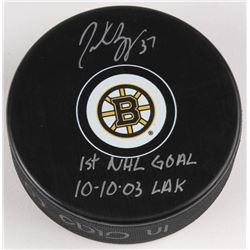 "Patrice Bergeron Signed Boston Bruins Logo Hockey Puck Inscribed ""1st NHL Goal 10-10-03""  ""LAK"" (Ber"