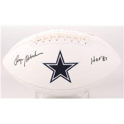 "Roger Staubach Signed Dallas Cowboys Logo Football Inscribed ""HOF 85"" (JSA COA)"