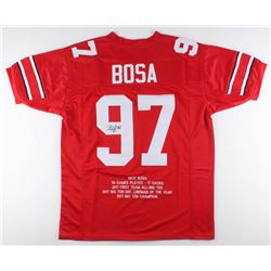 Nick Bosa Signed Career Highlight Stat Jersey (JSA COA)