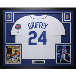"Ken Griffey Jr. Signed Seattle Mariners 35x43 Custom Framed Jersey Display Inscribed ""HOF 16"" (TriSt"