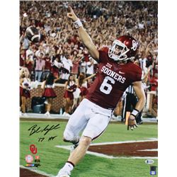 "Baker Mayfield Signed Oklahoma Sooners 16x20 Photo Inscribed ""'17 HT"" (Beckett COA)"
