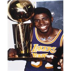 Magic Johnson Signed Los Angeles Lakers 16x20 Photo (PSA COA)