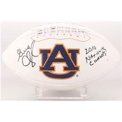 "Gene Chizik Signed Auburn Tigers Logo Football Inscribed ""2010 National Chams"" (JSA COA)"