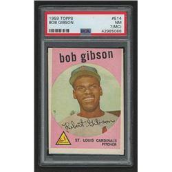 1959 Topps #514 Bob Gibson RC (PSA 7)(MC)