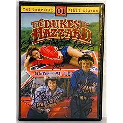 """John Schneider, Tom Wopat  Catherine Bach Signed """"The Dukes of Hazard"""" DVD Cover (JSA COA)"""