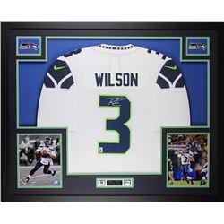 "Russell Wilson Signed 35"" x 43"" Custom Framed Jersey (Wilson Hologram)"