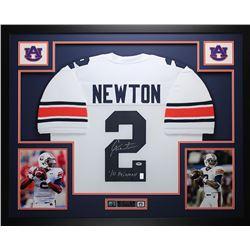 "Cam Newton Signed 35"" x 43"" Custom Framed Jersey Inscribed ""10 Heisman"" (PSA COA)"