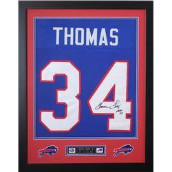 """Thurman Thomas Signed 24x30 Custom Framed Jersey Inscribed """"HOF 07"""" (JSA COA)"""
