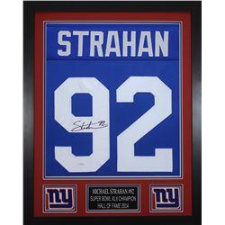 Michael Strahan Signed 24x30 Custom Framed Jersey (JSA COA)