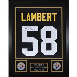 Jack Lambert Signed 24x30 Custom Framed Jersey (JSA COA)