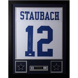 Roger Staubach Signed 24x30 Custom Framed Jersey (JSA COA)