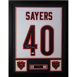 Gale Sayers Signed 24x30 Custom Framed Jersey (JSA COA)