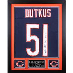 "Dick Butkus Signed 24x30 Custom Framed Jersey Inscribed ""HOF 79"" (JSA COA)"