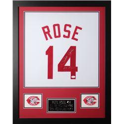 """Pete Rose Signed 24x30 Custom Framed Jersey Inscribed """"Hit King"""" (JSA COA)"""