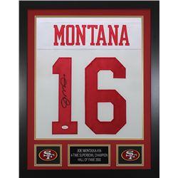 Joe Montana Signed 24x30 Custom Framed Jersey (JSA COA)