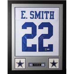 Emmitt Smith Signed  24x30 Custom Framed Jersey (PSA COA  Smith Hologram)