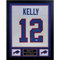 Jim Kelly Signed 24x30 Custom Framed Jersey (JSA COA)