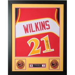 Dominique Wilkins Signed 24x30 Custom Framed Jersey (JSA COA)