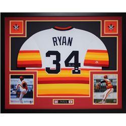 Nolan Ryan Signed 35x43 Custom Framed Jersey (JSA COA)