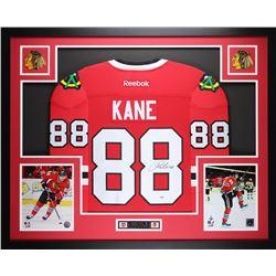 "Patrick Kane Signed 35"" x 43"" Custom Framed Jersey (PSA COA)"