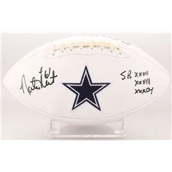 "Nate Newton Signed Dallas Cowboys Logo Football Inscribed ""SB XXVII XXVIII XXX Champ"" (JSA COA)"