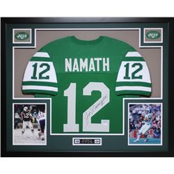 Joe Namath Signed 35  x 43  Custom Framed Jersey (JSA COA)