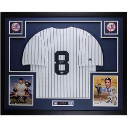 Yogi Berra Signed New York Yankees 35  x 43  Custom Framed Jersey (PSA COA)