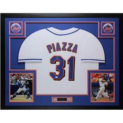 "Mike Piazza Signed 35"" x 43"" Custom Framed Jersey (JSA COA)"