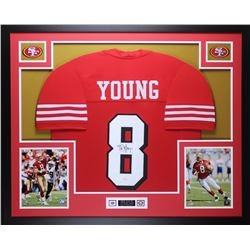 Steve Young Signed 35x43 Custom Framed Jersey (JSA COA)
