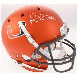 """Michael """"Playmaker"""" Irvin Signed Miami Hurricanes Custom Matte Orange Full-Size Helmet (Beckett COA)"""