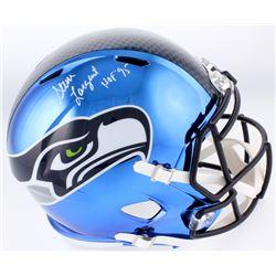 """Steve Largent Signed Seattle Seahawks Full-Size Chrome Speed Helmet Inscribed """"HOF '95"""" (Schwartz CO"""