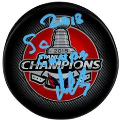 """Alexander Ovechkin Signed 2018 Stanley Cup Champions Logo Hockey Puck Inscribed """"2018 SC Champs"""" (Fa"""