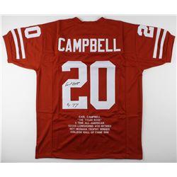 "Earl Campbell Signed Career Highlight Stat Jersey Inscribed ""HT 77"" (JSA COA)"