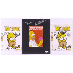 """Lot of (3) Dan Castellaneta Signed """"The Simpsons Movie"""" Items with Custom Matted Postcard  (2) DVD C"""