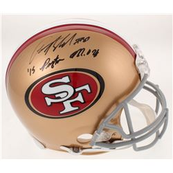 """Anquan Boldin Signed San Francisco 49ers Full-Size Authentic On-Field Helmet Inscribed """"15 Payton MO"""