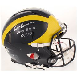"""Devin Bush Signed Michigan Wolverines Full-Size Authentic On-Field Speed Helmet Inscribed """"2018 Big"""
