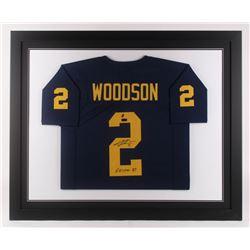 "Charles Woodson Signed 35.5x43.5 Custom Framed Jersey Inscribed ""Heisman 97"" (Radtke COA  GTSM Holog"