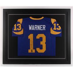 Kurt Warner Signed 35.5x43.5 Custom Framed Jersey (Radtke COA)