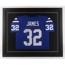 Edgerrin James Signed 35.5x43.5 Custom Framed Jersey