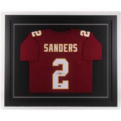 Deion Sanders Signed 35.5x43.5 Custom Framed Jersey (Radtke COA)