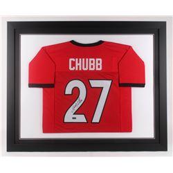 Nick Chubb Signed Georgia Bulldogs 35.5x43.5 Custom Framed Jersey (Radtke COA)