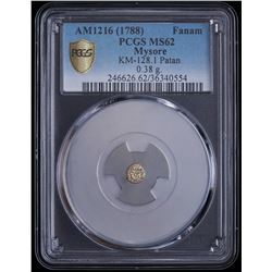 AM1216 (1788) India - Mysore Gold Fanam (0.38g) Patan Mint KM-128.1 (PCGS Gold Shield MS62)