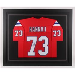 "John Hannah Signed 35.5x43.5 Custom Framed Jersey Inscribed ""HOF 91"" (JSA COA)"
