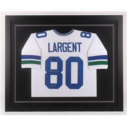 "Steve Largent Signed 35.5x43.5 Custom Framed Jersey Inscribed ""HOF 95"" (Radtke COA)"