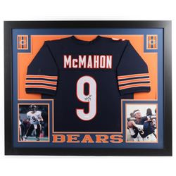 Jim McMahon Signed 35x43 Custom Framed Jersey (JSA COA)