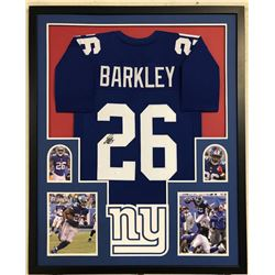 Saquon Barkley Signed 34x42 Custom Framed Jersey (JSA COA)