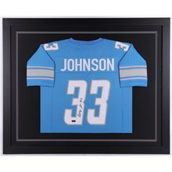 Kerryon Johnson Signed 35.5x43.5 Custom Framed Jersey (Radtke COA)