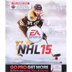 Patrice Bergeron Signed Boston Bruins NHL15 Promotional 24x28 Display Sign (Bergeron Hologram)